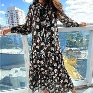Zara Metallic Thread Print Dress